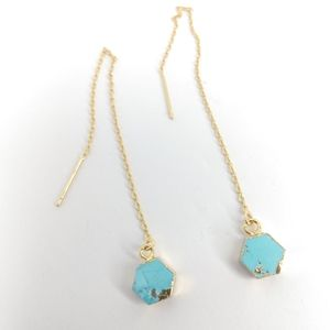 """Morph"" Turquoise threader earrings"